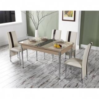 Uittrekbare tafel set met stoelen cappuccino for Uittrekbare tafel